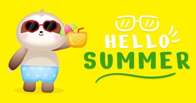 Bebê fofo, preguiça segurando abacaxi com uma faixa de saudação de verão