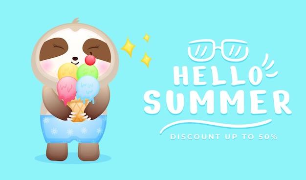 Bebê fofo preguiça segurando sorvete com faixa de saudação de verão