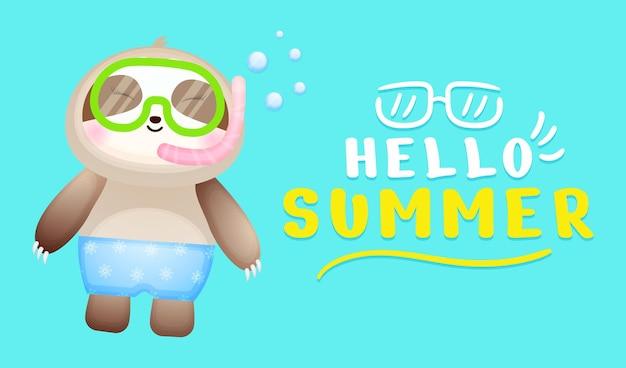 Bebê fofo, preguiça, usando óculos de natação e faixa de saudação de verão