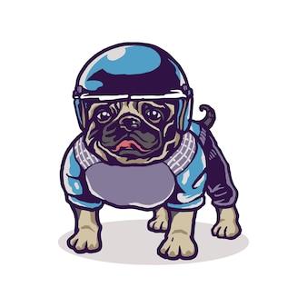 Bebê fofo pug esporte cartoon ilustração