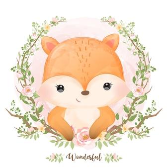 Bebê fofo raposa em aquarela