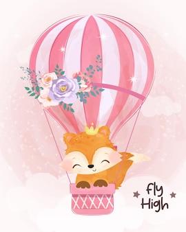 Bebê fofo raposa voando com balão de ar em aquarela
