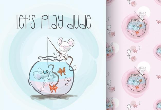 Bebê fofo rato feliz jogar sem costura padrão