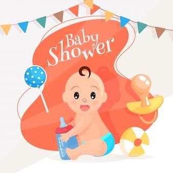 Bebê fofo, segurando a garrafa de leite com balão, chupeta e bola fo