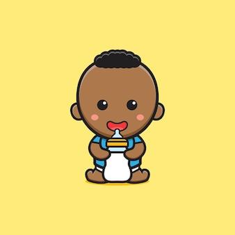 Bebê fofo segurando a ilustração do ícone dos desenhos animados de chupeta de garrafa de leite. projeto isolado estilo cartoon plana