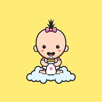 Bebê fofo sentado na nuvem segurando a ilustração do ícone dos desenhos animados de chupeta de garrafa de leite. projeto isolado estilo cartoon plana