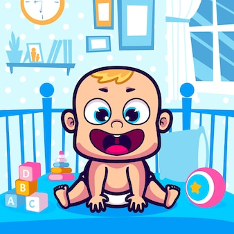 Bebê fofo sentado no desenho do berço