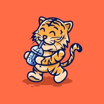 Bebê fofo tigre bebendo boba cartoon kawaii