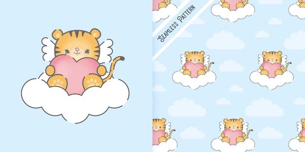 Bebê fofo tigre em uma nuvem e padrão uniforme