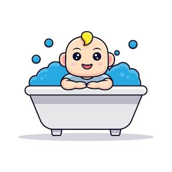 Bebê fofo tomando banho dentro da banheira