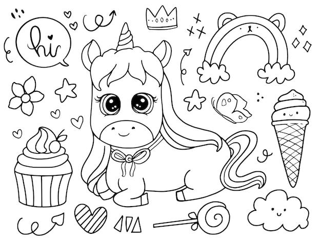 Bebê fofo unicórnio sentado com cupcake doodle desenho ilustração para colorir