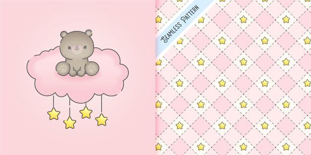Bebê fofo urso em uma nuvem rosa com estrelas padrão sem emenda