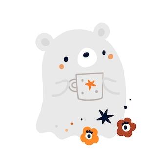 Bebê fofo urso fantasma com uma xícara de café. estampa fofa para feliz festa de halloween