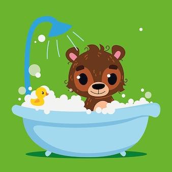 Bebê fofo urso pardo banha-se impressão vetorial personagem de desenho animado limpeza no banheiro arte divertida