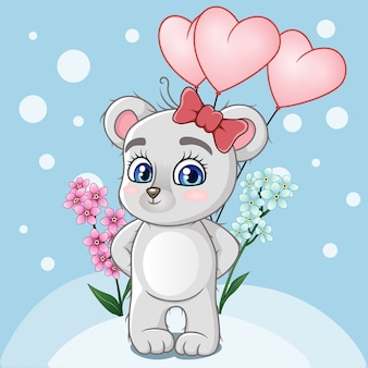 Bebê fofo urso segurando balões em forma de coração