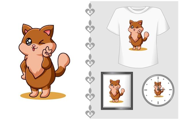 Bebê gato com ilustração de desenho animado fofura