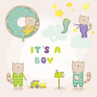 Bebê gato conjunto bebê chuveiro cartões de chegada