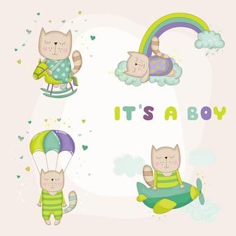 Bebê gato conjunto cartão de chá de bebê