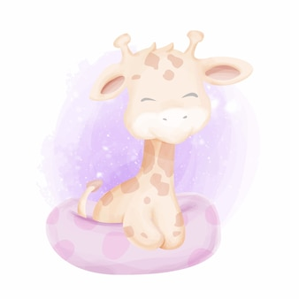 Bebê girafa nadando com flutuador