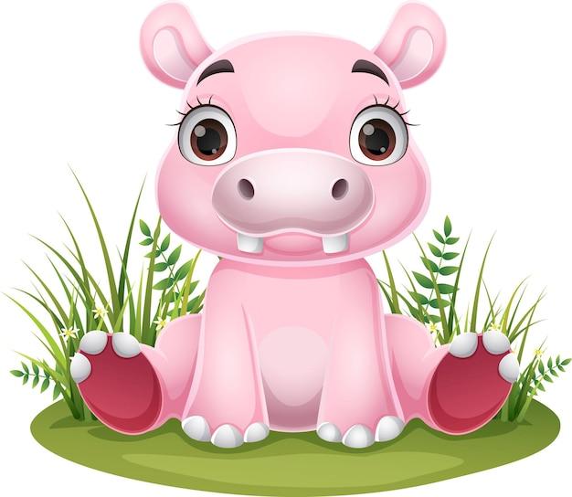 Bebê hipopótamo de desenho animado sentado na grama