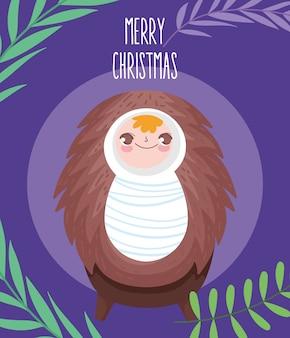Bebê jesus na presépio presépio, feliz natal