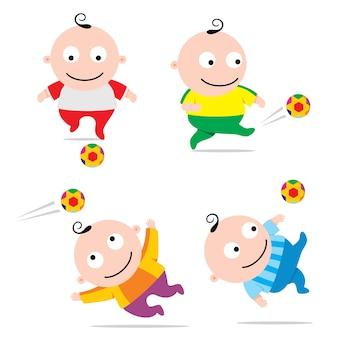 Bebê jogando futebol, engraçado dos desenhos animados