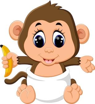 Bebê macaco segurando banana