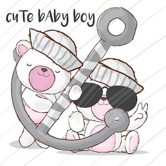 Bebê marinheiro urso mão desenhada animal-vetor