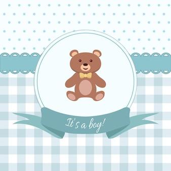 Bebê menino chuveiro ou cartão de chegada com design plano de ursinho de pelúcia. ilustração vetorial