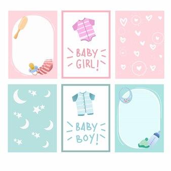 Bebê novo carregado e coleção bonito do vetor do projeto de cartão do chuveiro de bebê.