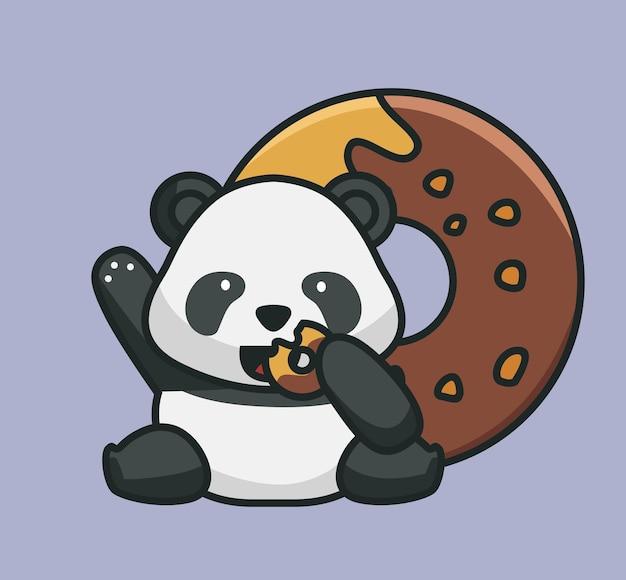Bebê panda fofo comendo rosquinhas com sabor de chocolate com rosquinhas gigantes de alimento animal isolado