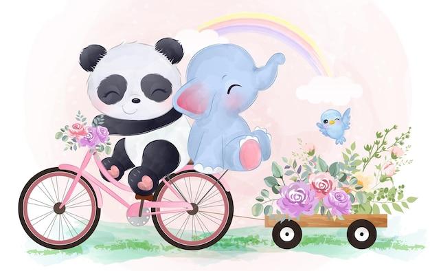 Bebê panda fofo e elefante andando de bicicleta