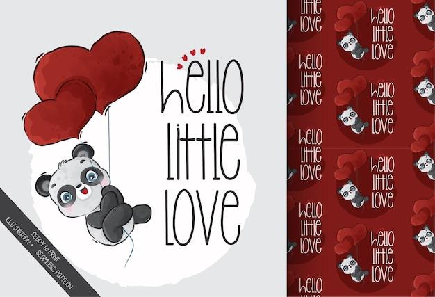 Bebê panda voando com balões de amor vermelhos com padrão uniforme