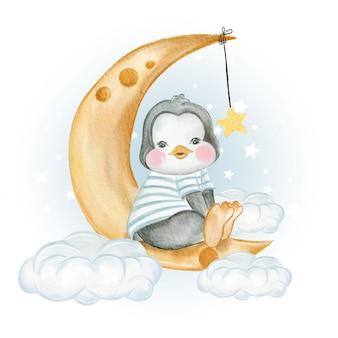 Bebê pinguim sentado sobre a lua acima das nuvens