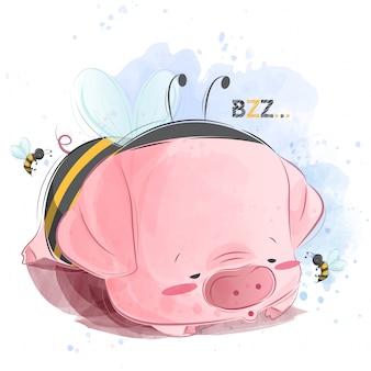 Bebê porquinho dormindo em traje de abelha