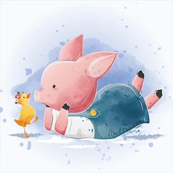 Bebê porquinho e o pequeno pato