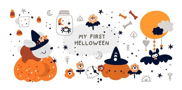 Bebê primeiro feliz dia das bruxas com elementos de design