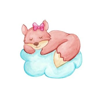 Bebê raposa dormindo em uma nuvem no céu desenho aquarela feito à mão