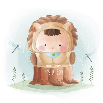 Bebé recém-nascido em traje de leão