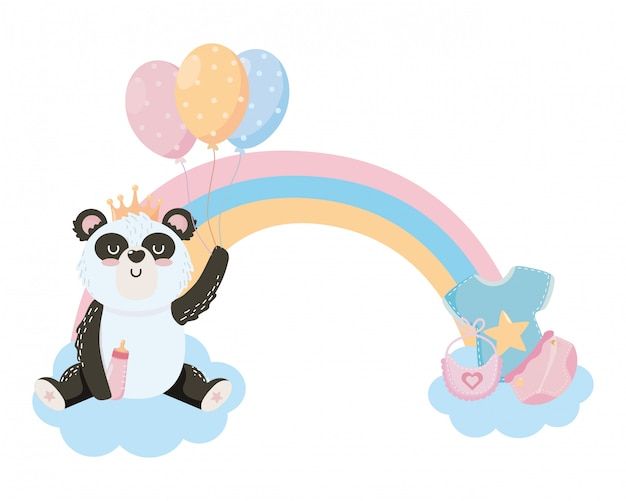 Bebê, símbolo chuveiro, e, panda