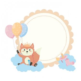Bebê, símbolo chuveiro, e, raposa