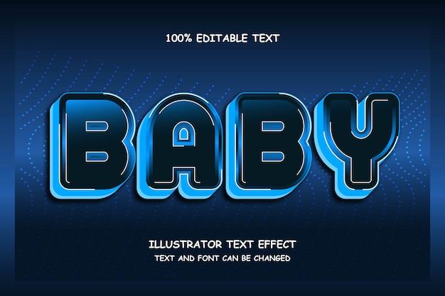 Bebê, sombra editável de efeito de texto moderno estilo led