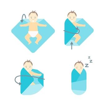 Bebê swaddle passo a passo. ordene os movimentos corretos.