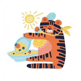 Bebê tigre comendo mingau com colher grande, isolado no fundo branco.