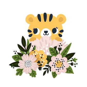 Bebê tigre sentado na selva de flores desabrochando em estilo cartoon pequeno rugido impresso para crianças