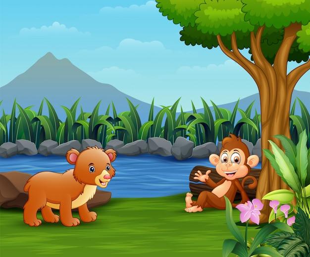 Bebê urso e macaco desfrutar pelo rio