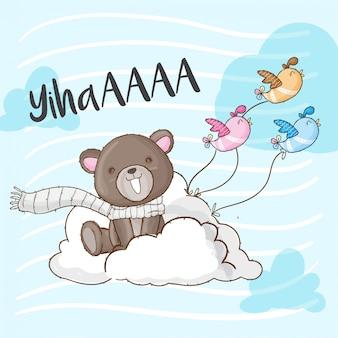 Bebê urso na nuvem mão desenhada animal