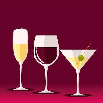 Bebe vinho, champanhe e ilustração de álcool de martini