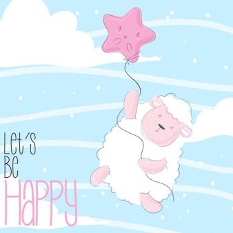 Bebê voador bonito dos desenhos animados animais ovelhas