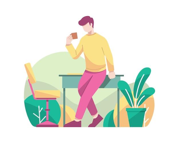 Beber café ao quebrar o tempo no escritório